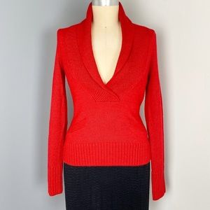J. Crew Red Wool V-Neck Sweater